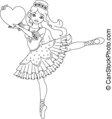 Ballerina coloring page - Illustration of cute dancing...