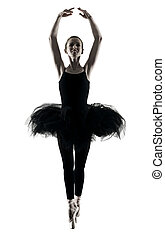 Ballerina dancer dancing woman  isolated silhouette