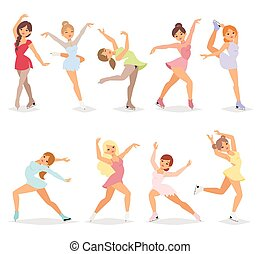 Ballerina dancer girl vector set.