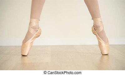 Ballerina Dancer In Class Room, Slow Motion Effect