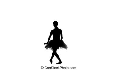ballerina dancer in tutu showing her techniques, silhouette,...