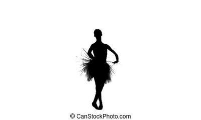 ballerina dancer in tutu showing her techniques, silhouette,...