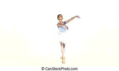 ballerina dancer in tutu showing her techniques, slow motion...