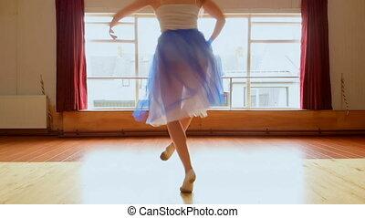 Ballerina dancing in the dance studio 4k