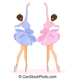 Ballerina dancing on pointe in flower tutu skirt vector set...