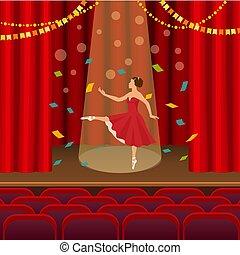 Ballerina dancing on the scene of the theater flat vector illustration.