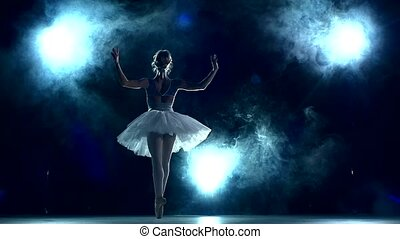 ballerina doing a workout in the classroom on blue. slow motion