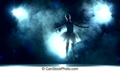ballerina doing a workout in the classroom. Smoke, fog, silhouette. ballet dancer in white tutu, girl in pointe, slow motion