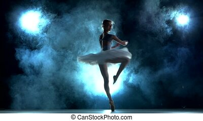 graceful ballerina doing a workout in the classroom. Smoke, fog, silhouette. ballet dancer in white tutu, girl in pointe, whirls around you