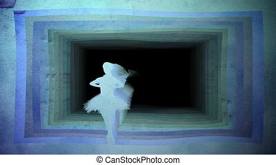 Ballerina doing pirouette against background of paper tunnel...