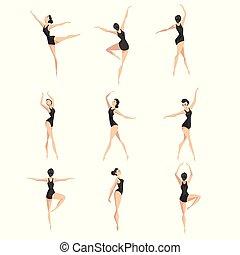 ballerina, donna balletto, classico, ballo, set, magro, illustrazione, ballo, vettore, fondo, bianco, beautifull, ballerino