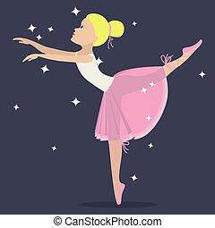 Ballerina flat style cartoon illustration