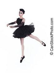 ballerina, freigestellt, weiß, hintergrund., mode, kunst- portrait, von, schöne , girl., mode, stil, woman.