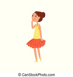 Ballerina girl character in tutu dress cartoon vector Illustration on a white background