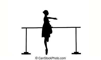 ballerina girl dancer near barre. silhouette. slow motion