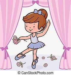Ballerina dancer girl, dancing on stage holding flowers. Vector illustration