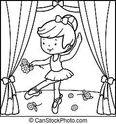 Ballerina girl dancing. Vector black and white coloring page.