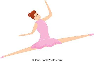 Ballerina girl icon, cartoon style