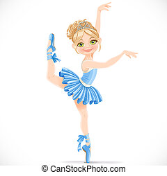 Ballerina girl in blue dress dancing on one leg isolated on...