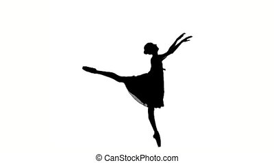 ballerina girl posing on a white background. silhouette. slow motion