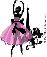 ballerina, grafik, silhouette, isabelle, reihe, woman.