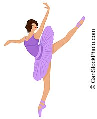 Ballerina in a pale purple tutu dress