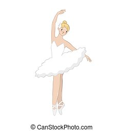 Ballerina in a white dress isolated on a white background. Vector graphics.