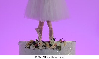 Ballerina in a white tutu and pointe is dancing on tiptoes. Female slender legs close up dancing on a pink studio background. Festive theatrical dance show. Slow motion