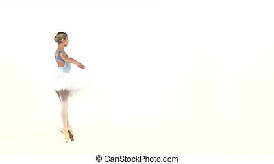 ballerina in ballet pose on white, slow motion