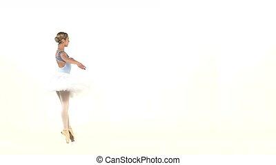 ballerina in ballet pose on white, slow motion