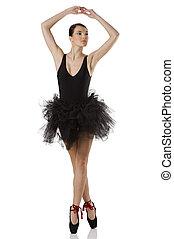 ballerina in black on pointe