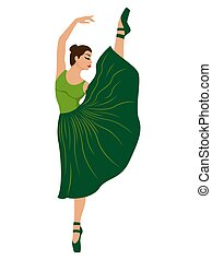 Beautiful ballerina in green dress with leotard, hand drawing vector, isolated on the white background