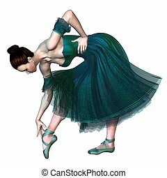 Ballerina in a green romantic style tutu adjusting the ribbons on her pointe shoe, 3d digitally rendered illustration