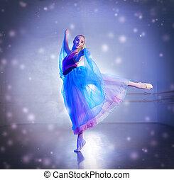 ballerina in snowflakes