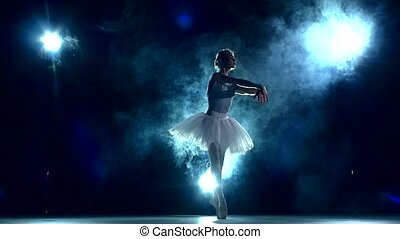 ballerina in the classroom on blue. slow motion - graceful...