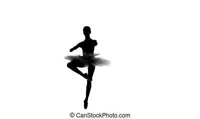 ballerina in tutu showing her techniques, silhouette, slow...