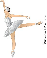 ballerina in white dress standing on pointe in a graceful...