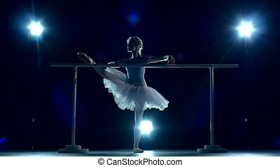 Ballerina is wearing in white dress and pointe shoes. slow motion
