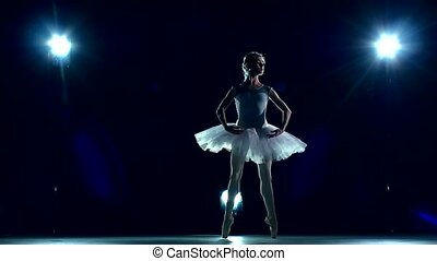 Ballerina is wearing  tutu. slow motion
