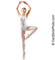 Ballerina (isolated on white ver) - Young ballerina...