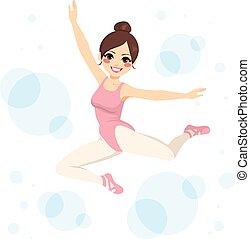 Ballerina Jumping - Beautiful young brunette ballerina woman...