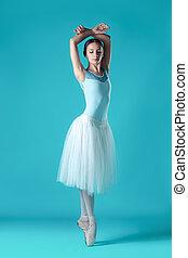 ballerina, klänning, bakgrund., framställ, studio, vit, tån