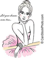 Illustration of a young ballet dancer girl leaning on ballet barre