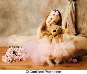 ballerina, liden, skønhed