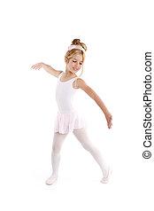 Ballerina little ballet children dancer dancing on white