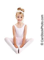 Ballerina little ballet children dancer stretching sitting
