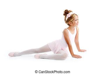 Ballerina little ballet children dancer stretching sitting...