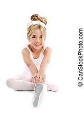 Ballerina little ballet children dancer stretching sitting...