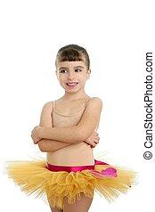 Ballerina little girl portrait posing at studio