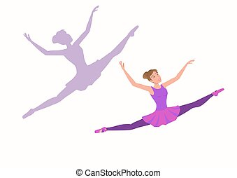 ballerina, lontano, face., volare, giovane, alto, godimento